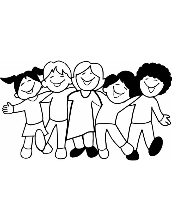 Stampa Disegno Di Bambini A Scuola Da Colorare