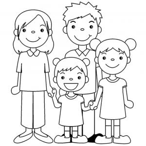 Disegno di famiglia unita da colorare per bambini gratis for Immagini da copiare a mano