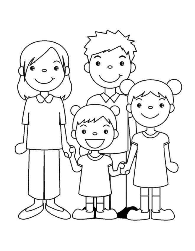 Disegni Da Colorare Di Bambini Che Si Tengono Per Mano.Disegno Di Famiglia Unita Da Colorare Per Bambini Disegnidacolorareonline Com