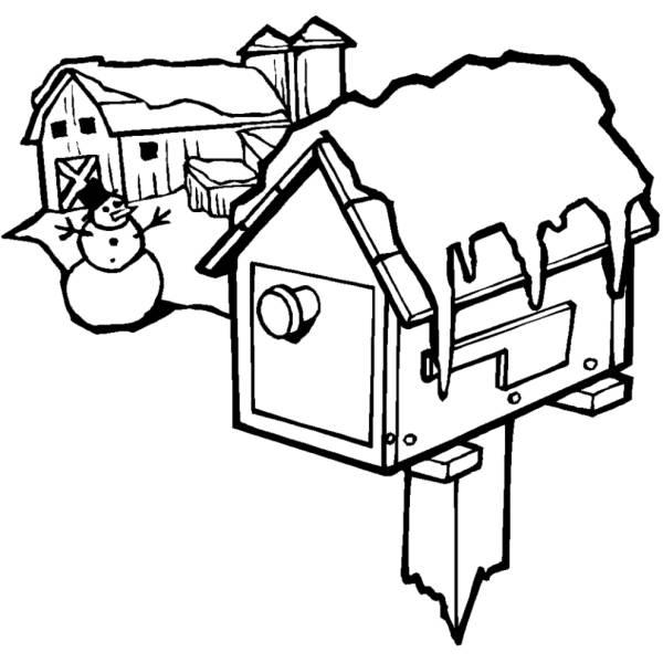 Disegno di casa innevata da colorare per bambini for Casa disegno