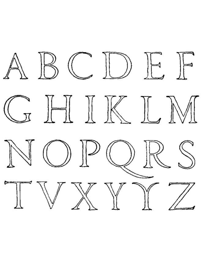 Stampa Disegno Di Lettere Alfabeto Da Colorare