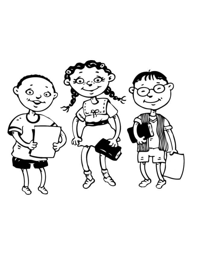 disegno di Studenti da colorare
