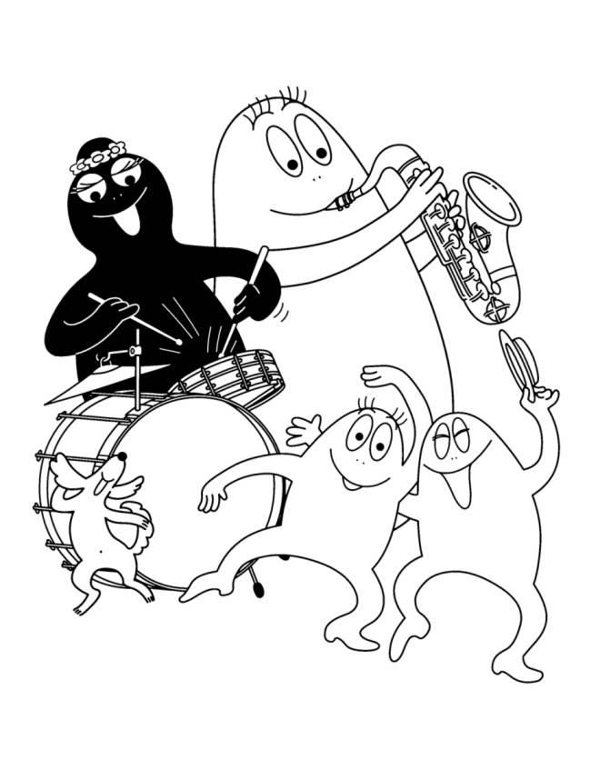 disegno di Barbapapà e la Musica da colorare