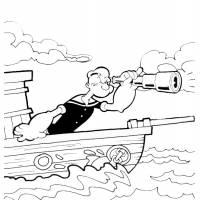 Disegno di Braccio di Ferro in Barca da colorare