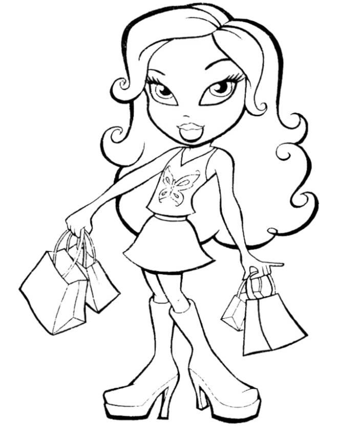 disegno di Bratz in Shopping da colorare