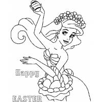 Disegno di Ariel Buona Pasqua da colorare