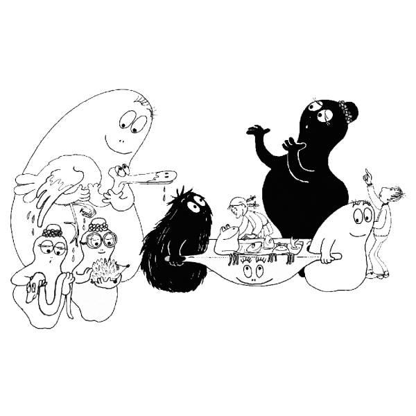 Disegno di Barbapapà con Animali da colorare