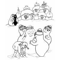 Disegno di Barbapapà con la Neve da colorare