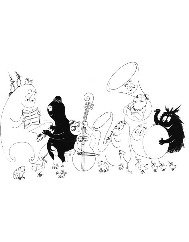 disegno di Barbapapà Musica e Animali da colorare