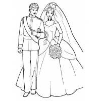 Disegno di Barbie e Ken Sposi da colorare
