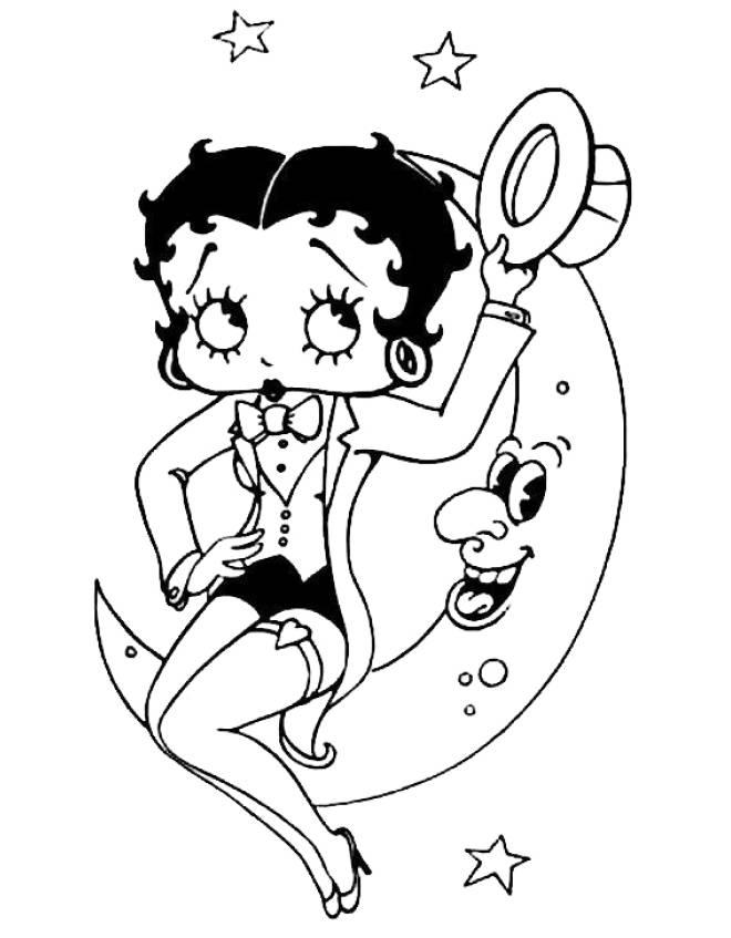Disegni Da Colorare E Stampare Gratis Di Betty Boop.Disegno Di Betty Boop E La Luna Da Colorare Per Bambini Disegnidacolorareonline Com