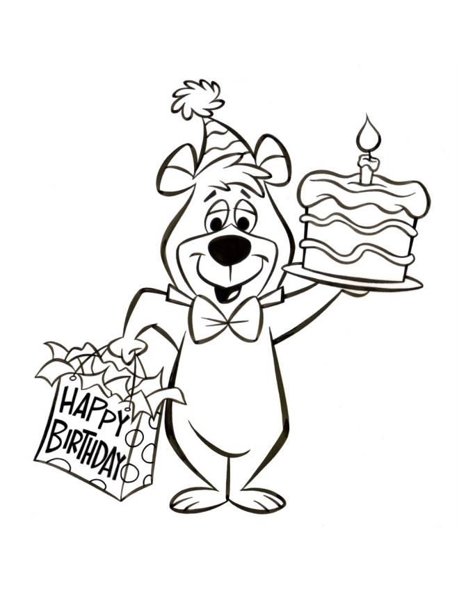 Stampa Disegno Di Bubu Torta Di Compleanno Da Colorare