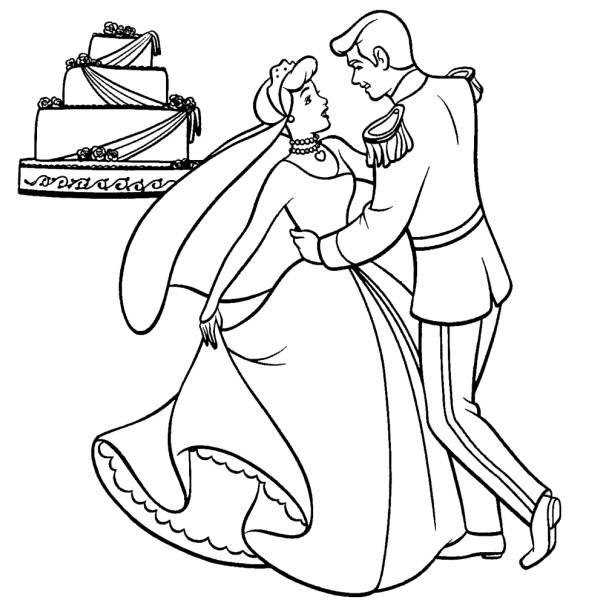Disegno di Cenerentola Sposa da colorare