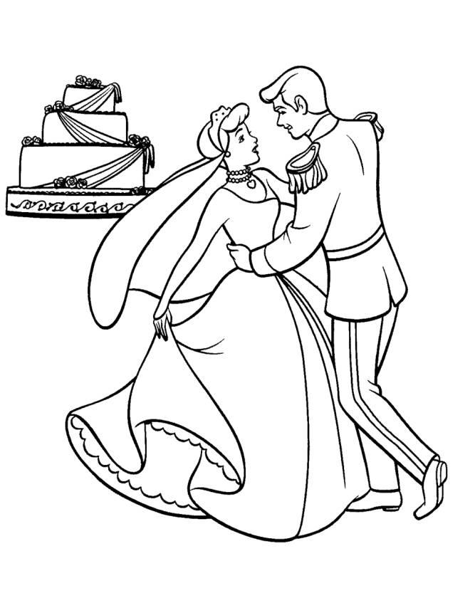 Disegno di cenerentola sposa da colorare per bambini for Disegni per matrimonio