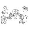 Disegno di Dora e gli altri Personaggi da colorare