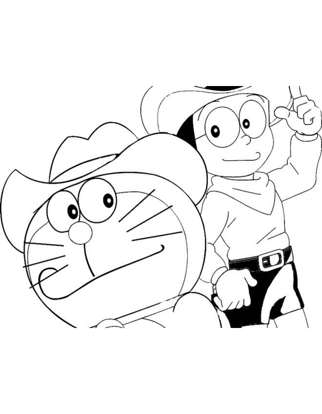 disegno di Doraemon e Nobita da colorare