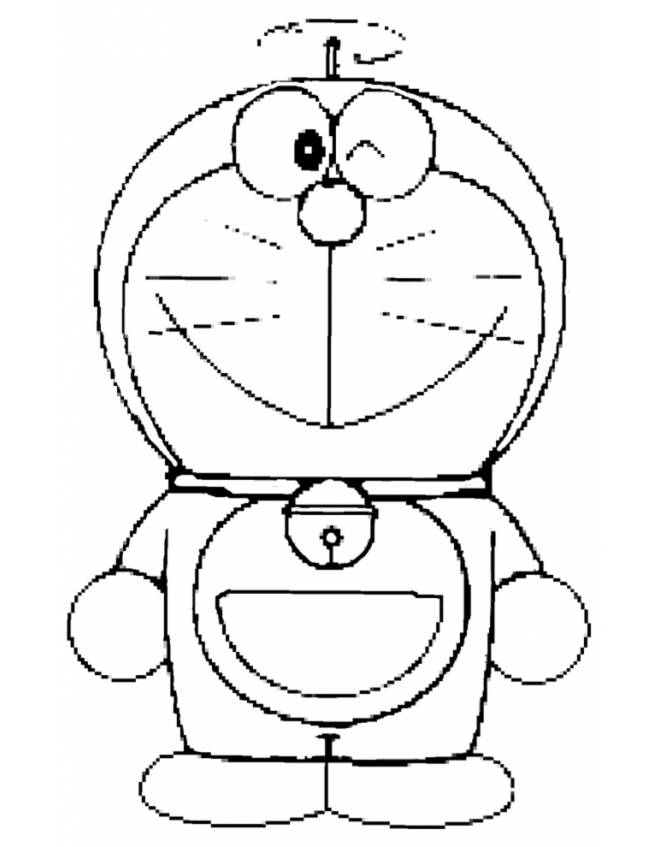 Disegno di doraemon da colorare per bambini for Disegni di cartoni animati