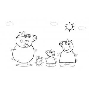 Disegno di La Famiglia di Peppa Pig da colorare