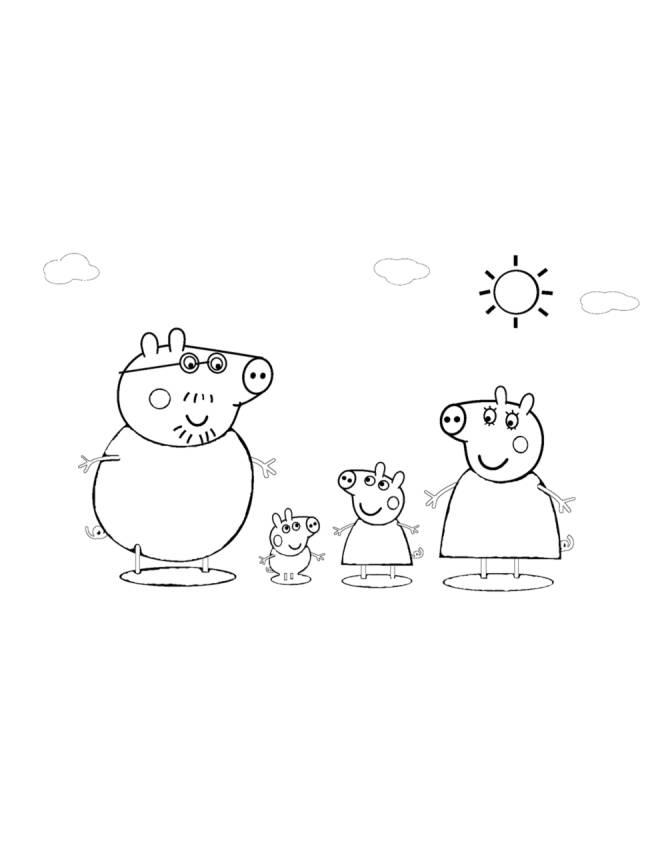 Disegno Di La Famiglia Di Peppa Pig Da Colorare Per Bambini