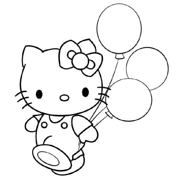 Disegno Di Hello Kitty Coi Palloncini Da Colorare Per