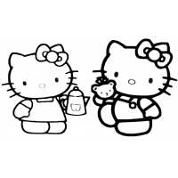 Disegno di Hello Kitty col Caffè da colorare