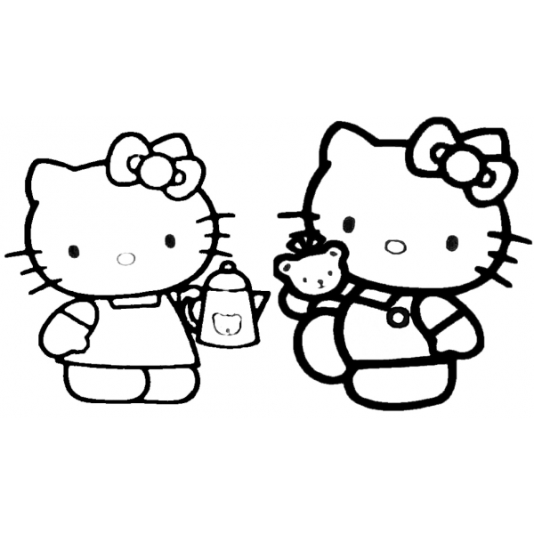 Disegno Di Hello Kitty Col Caffè Da Colorare Per Bambini