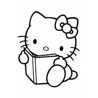 disegno di Hello Kitty col Libro da colorare