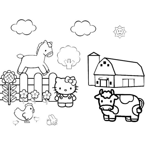 Disegno di Hello Kitty nella Fattoria da colorare