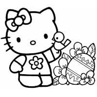 Disegno di Hello Kitty Pasqua da colorare