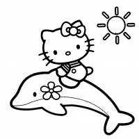 disegno di Hello Kitty sul Delfino da colorare