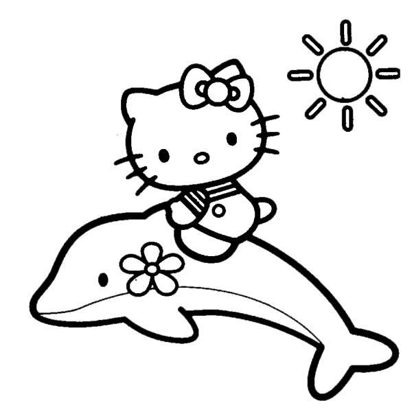 Disegno Di Hello Kitty Sul Delfino Da Colorare Per Bambini