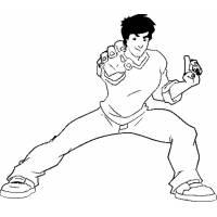 Disegno di Jackie Chan in Azione da colorare