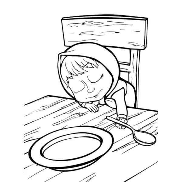 Disegno di Masha che Dorme sul Tavolo da colorare