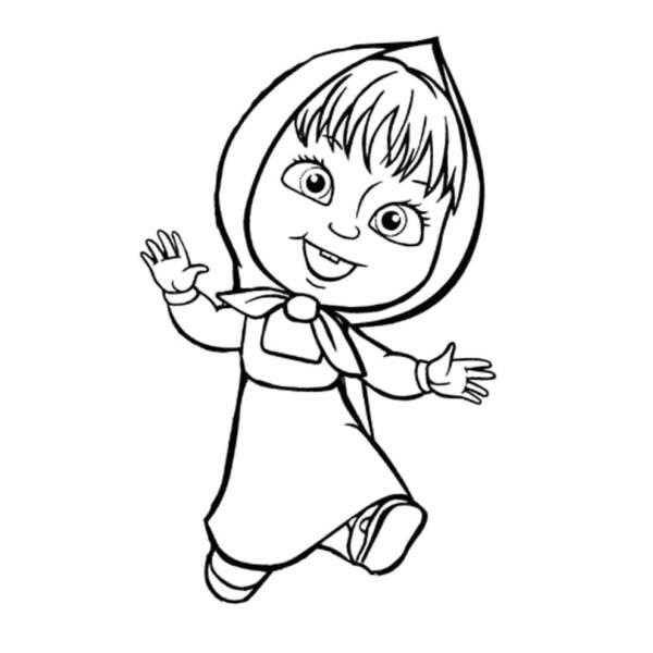 Disegno Di Masha Che Gioca Da Colorare Per Bambini