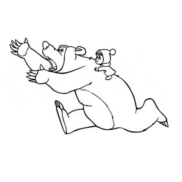 Disegno di Masha e Orso da colorare