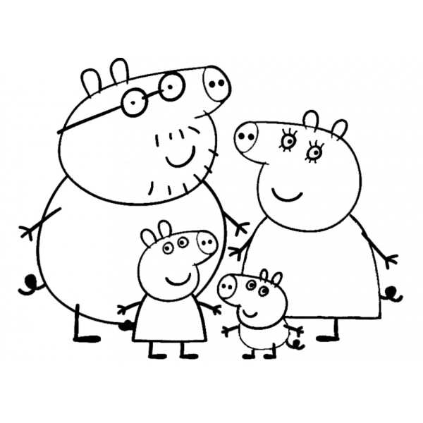 Disegno di Peppa Pig Family da colorare