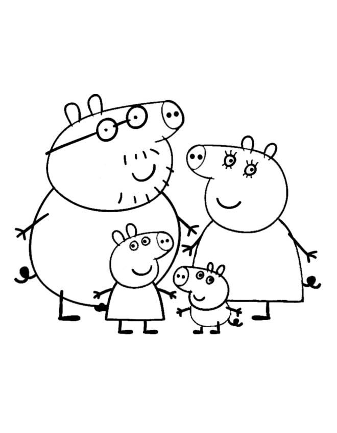 Disegno Di Peppa Pig Family Da Colorare Per Bambini