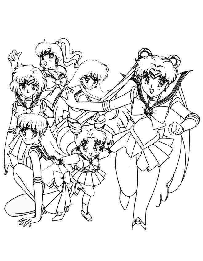 Stampa Disegno Di Personaggi Sailor Moon Da Colorare
