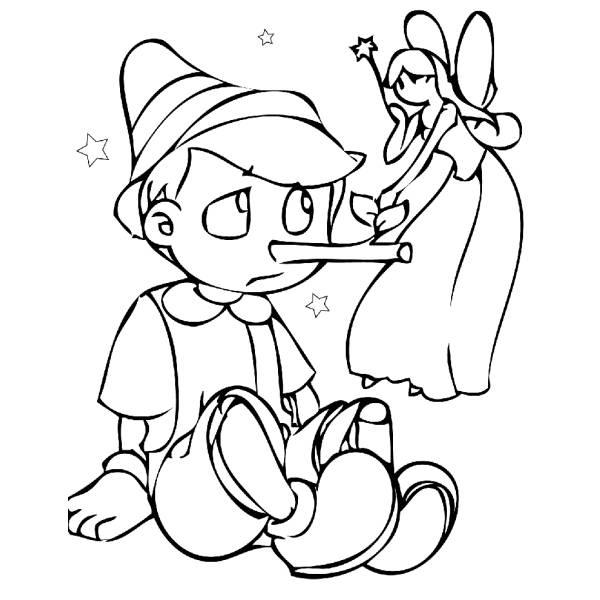 Disegno di Pinocchio e la Fatina da colorare
