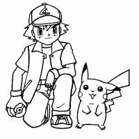 disegno di Pokemon Allenatori Ash Ketchum da colorare