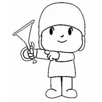 Disegno di Pokoyo con la Tromba da colorare