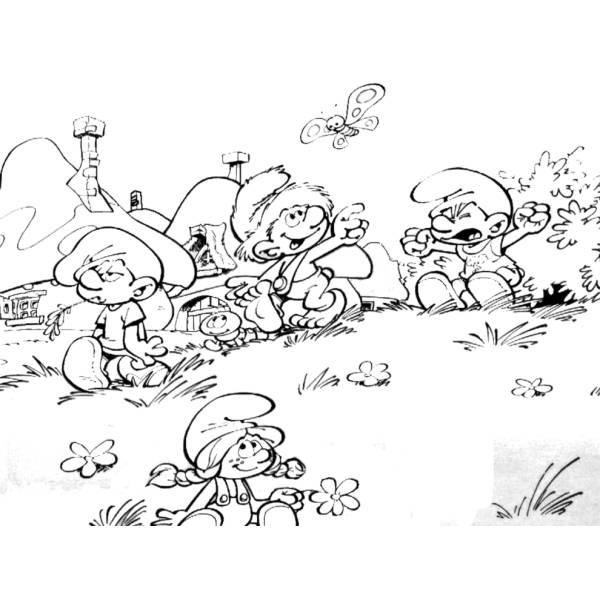 Puffi Colorare.Disegno Di Il Villaggio Dei Puffi Da Colorare Per Bambini