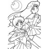 disegno di Sailor Moon e la Luna da colorare
