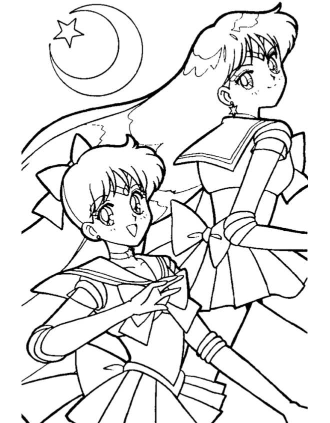 Stampa Disegno Di Sailor Moon E La Luna Da Colorare