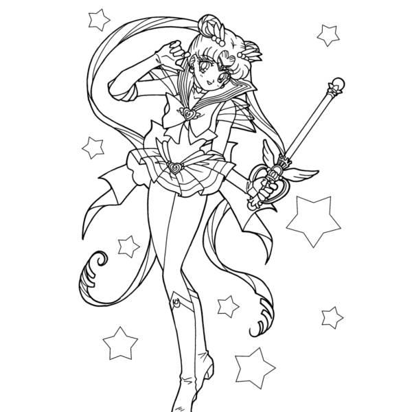 Disegno Di Sailor Moon E Le Stelle Da Colorare Per Bambini