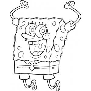 Disegno di spongebob hurra da colorare per bambini gratis - Immagini di spongebob e sabbia ...