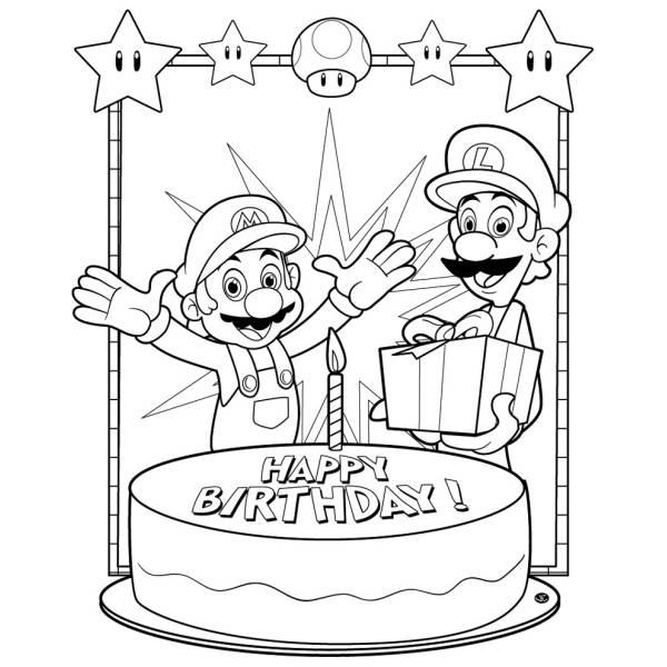 Disegno di Super Mario Buon Compleanno da colorare