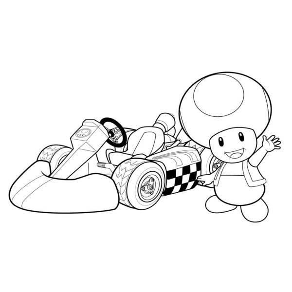 Disegno di toad mario kart da colorare per bambini for Disegni da colorare super mario bros