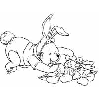 Disegno di Winnie Pooh Pasqua da colorare