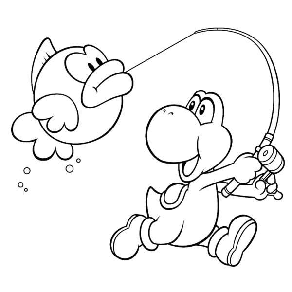 Disegno di Yoshi e il Pesce Palla da colorare